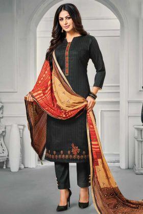 Designer Jam Satin Cotton Black Color Salwar Suit