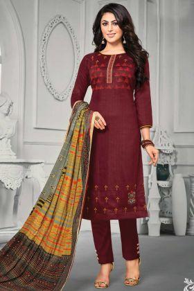 Designer Jam Satin Cotton Maroon Color Salwar Suit