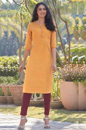 Designer Kurti In Mustard Yellow South Cotton