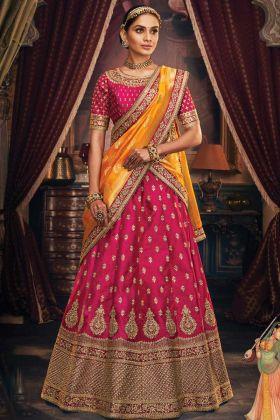 Designer Magenta Handloom Silk Party Wear Lehenga