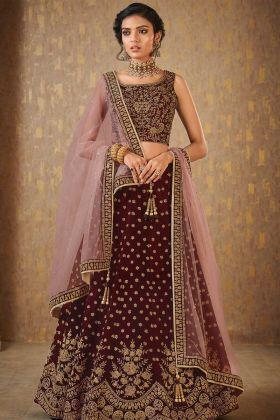 Designer Maroon Wedding Lahenga Choli