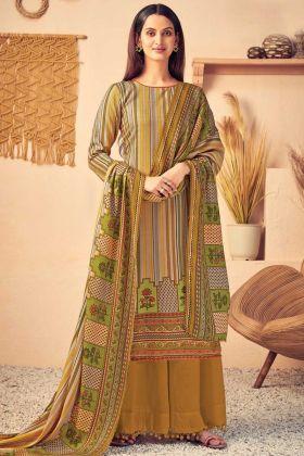 Designer Multi Color Pure Wool Pashmina Plazzo Suit