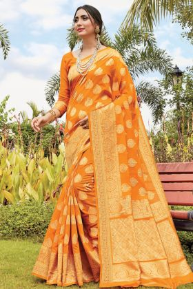 Designer Musturd Yellow Cotton Handloom Saree