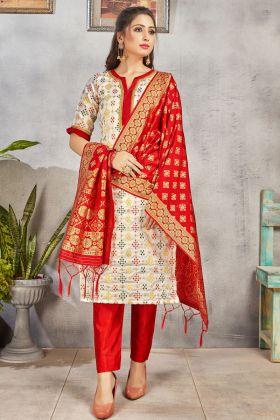 Designer Off White Color Party Wear Banarasi Art Silk Salwar Suit