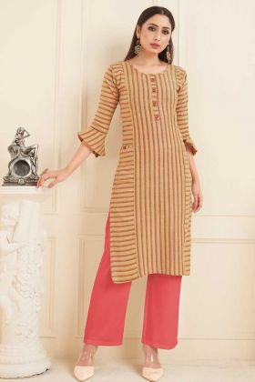 Designer Office Wear Beige Cotton Printed Kurti