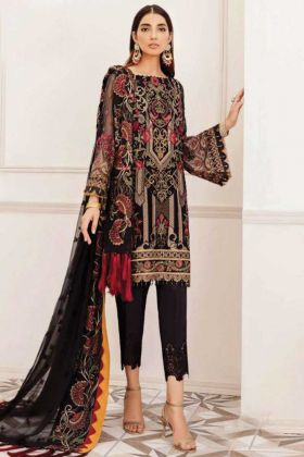 Designer Pakistani Black Heavy Faux Georgette Suit
