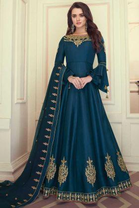 Designer Party Wear Blue Color Heavy Maslin Silk Anarkali Suit