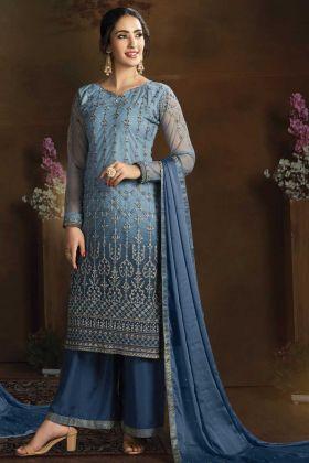 Designer Party Wear Blue Color Salwar Suit