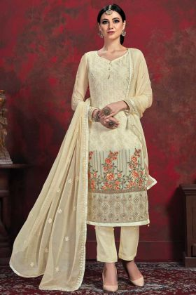 Designer Party Wear Chiffon Cream Salwar Suit