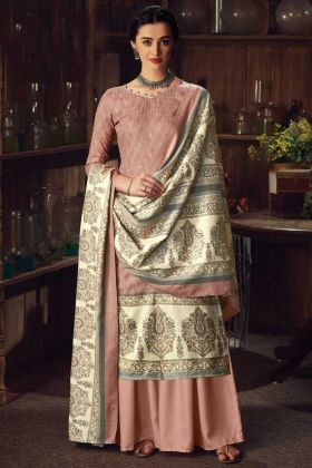 Designer Party Wear Cream Pure Wool Pashmina Plazzo Suit