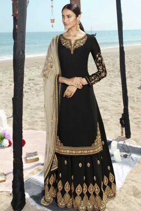 Designer Party Wear Faux Georgette Black Sharara Suit