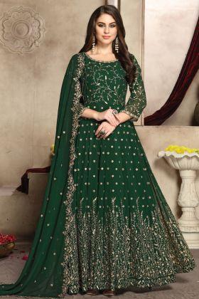 Designer Party Wear Georgette Green Anarkali Suit