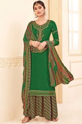 Designer Party Wear Green Pure Crepe Plazzo Suit