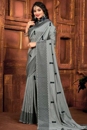 Designer Party Wear Grey Color Sana Silk Saree
