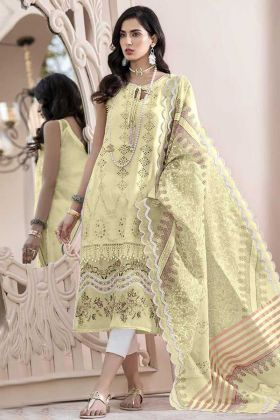 Designer Party Wear Light Yellow Color Salwar Suit