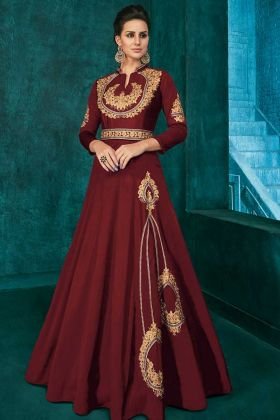 Designer Party Wear Maroon Color Gown