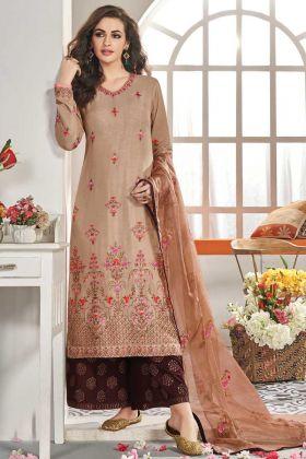 Designer Party Wear Maslin Silk Light Brown Plazzo Suit