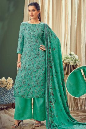 Designer Party Wear Multi Pure Wool Pashmina Suit