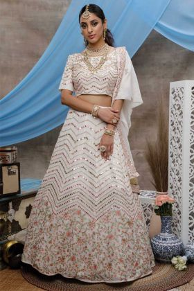 Designer Party Wear Pearl White Georgette Lehenga Choli