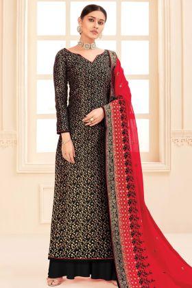 Designer Party Wear Pure Silk Jacquard Black Salwar Suit