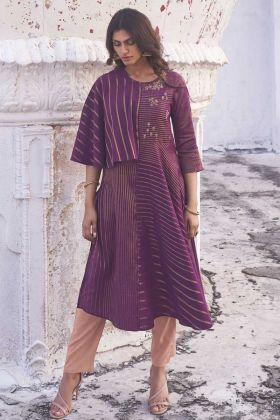 Designer Party Wear Purple Color Handloom Top With Bottom