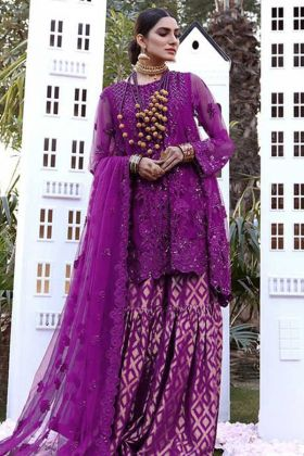 Designer Party Wear Purple Color Heavy Sharara Suit
