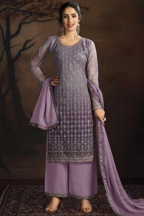 Designer Party Wear Purple Color Salwar Suit