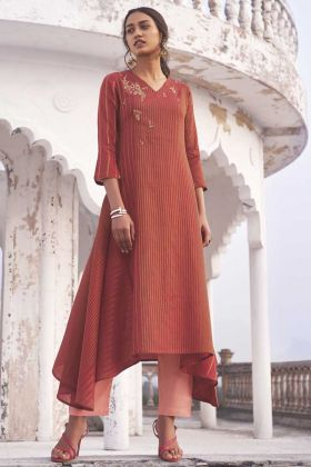 Designer Party Wear Red Color Handloom Top With Bottom