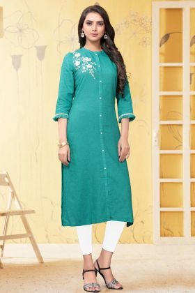 Designer Party Wear Sky Blue Linen Readymade Kurti
