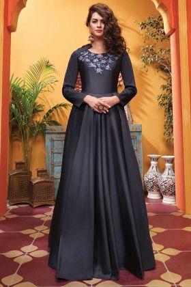 Designer Party Wear Soft Silk Black Color Gown
