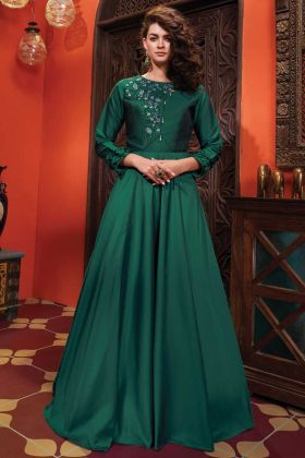 Designer Party Wear Soft Silk Green Color Gown