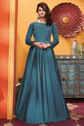 Designer Party Wear Soft Silk Teal Blue Color Gown
