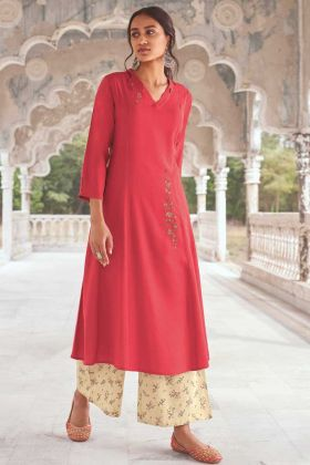 Designer Party Wear Super Fine Modal Khadi Rose Pink Readymade Kurti