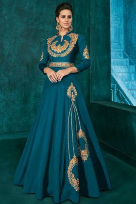 Designer Party Wear Teal Blue Color Gown