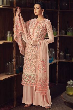 Designer Peach Color Wool Pashmina Plazzo Suit