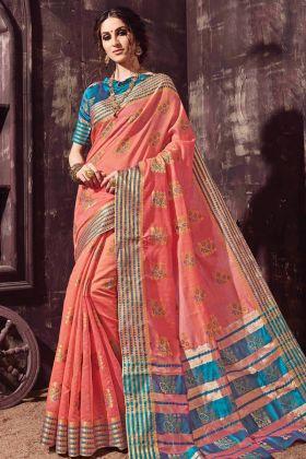 Designer Peach Cotton Silk Saree In Weaving Work