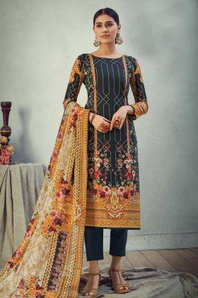 Designer Printed Black Pure Cambric Cotton Salwar Suit