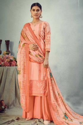 Designer Printed Peach Pure Cambric Cotton Salwar Suit