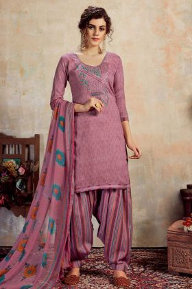 Designer Pure Jam Cotton Patiala Suit In Negative Print