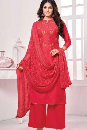 Designer Pure Jam Cotton Red Color Salwar Suit