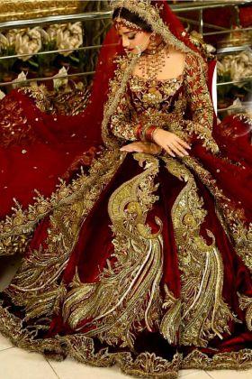 Designer Pure Velvet Maroon Color Peacock Bridal Lehenga Choli with Embroidery Dupatta