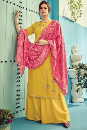 Designer Pure Viscore Maslin Yellow Plazzo Suit