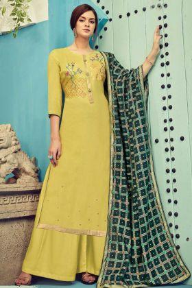 Designer Pure Viscore Maslin Yellow Plazzo Suit Online