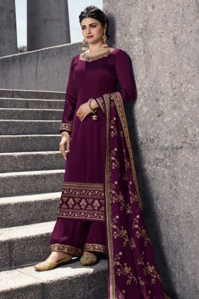Designer Purple  Satin Georgette Plazzo Suit