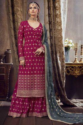 Designer Rani Pink Color Georgette Pakistani Style Fancy Salwar Kameez