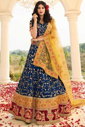 Designer Raw Silk Royal Blue Musturd Wine Party Wear Lehenga