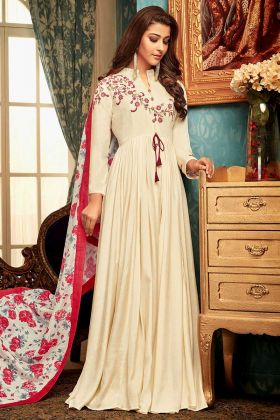 Designer Readymade Gown Cream Color With Muslin Dupatta