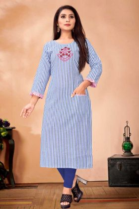 Designer Readymade Kurti In Blue And White Color