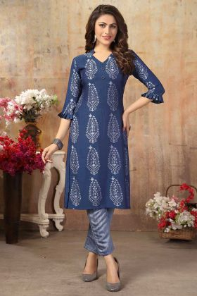 Designer Readymade Kurti Set And Pant Blue Color