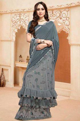 Designer Saree Collection In Grey Color Fancy Fabric